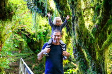 Father and daughter in New Zealand bush