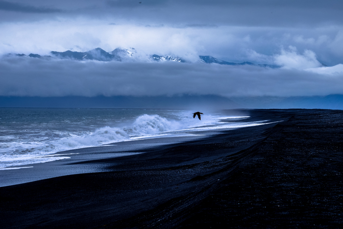 New Zealand beach during storm